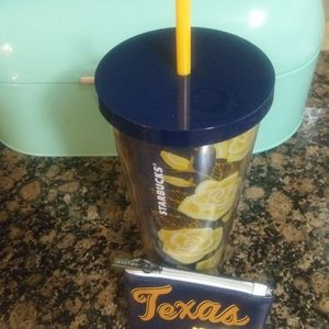 Starbucks Yellow Rose of Texas Tumbler & Pouch